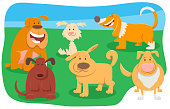 Cartoon Illustration of Funny Dogs and Puppies Pet Animal Characters Group