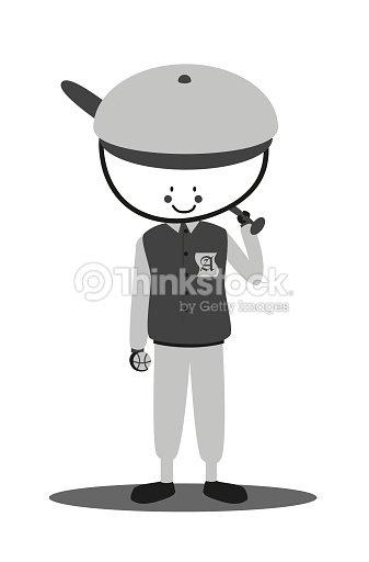 Cute Doodle softball player