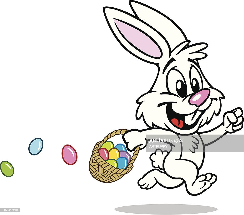cute easter bunny with basket vector art getty images