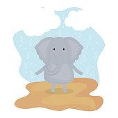 cute elephant adorable character vector illustration design