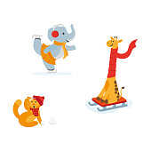 Cute animals in winter - elephant ice skating, giraffe riding a sled, cat hit by snowball, flat cartoon vector illustration isolated on white background. Animal characters having fun in winter