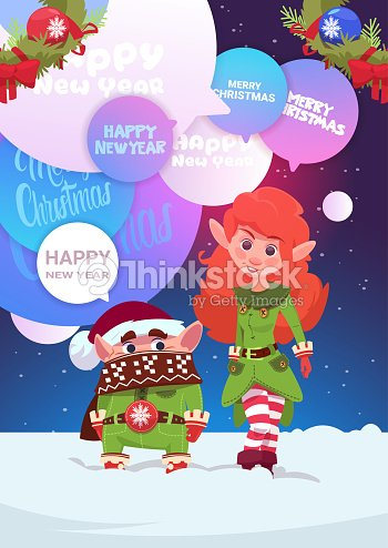 cute elfs couple greeting with merry christmas and happy new year holiday card vector art