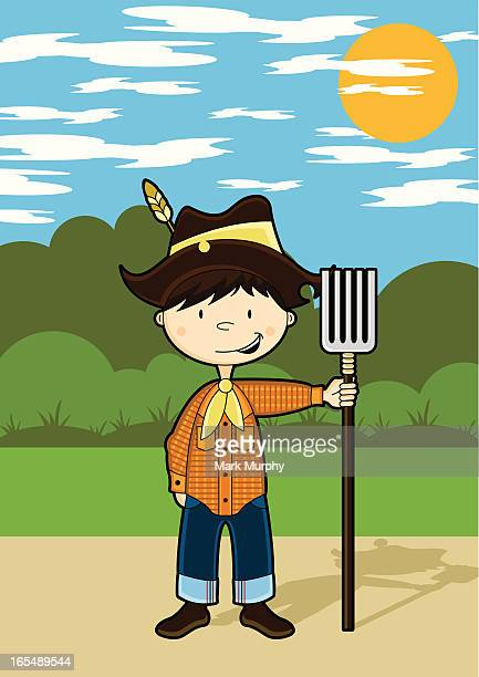 Cute Farm Boy Character Vector Art | Getty Images