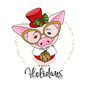 Cute festive pig with the inscription Happy Holidays. Vector illustration.