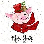 Cute festive pig with the inscription happy New Year. Vector illustration.