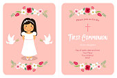 Cute First Communion card for girls in pink colors