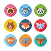 Cute flat animals portraits icons with long shadows for web and mobile applications