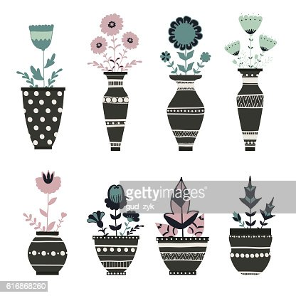 Cute flowerpots. : Vector Art