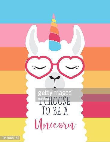 Cute fluffy unicorn llama (alpaca) : Vector Art