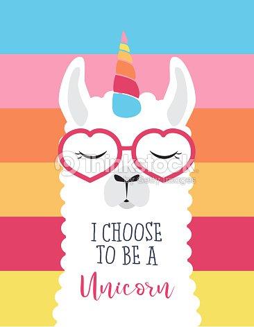 Cute fluffy unicorn llama (alpaca) : stock vector