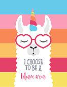 Cute fluffy unicorn llama (alpaca) cute, card , llama