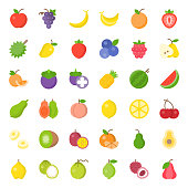 Cute fruit flat icon set, such as orange, kiwi, coconut, banana, papaya, peach, tropical fruits
