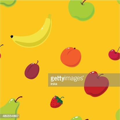 Linda frutas fondo sin costuras : Arte vectorial
