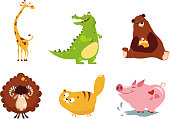 Cute funny animals set, giraffe, crocodile, bear, sheep, cat, pig vector Illustration isolated on a white background.