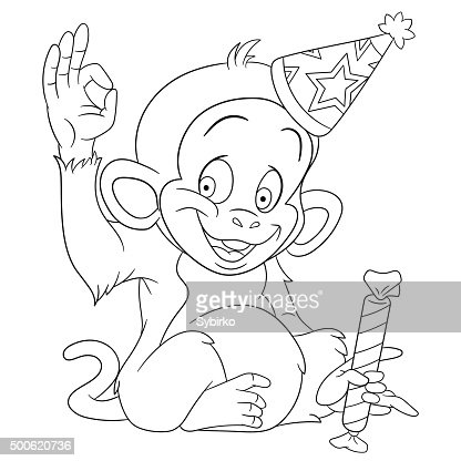 Cute Funny New Year Monkey With A Candy Vector Art