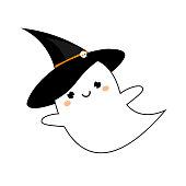 Cute ghost in kawaii style in Halloween hat. Vector icon, sticker