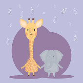 cute giraffe and elephant adorable characters vector illustration design