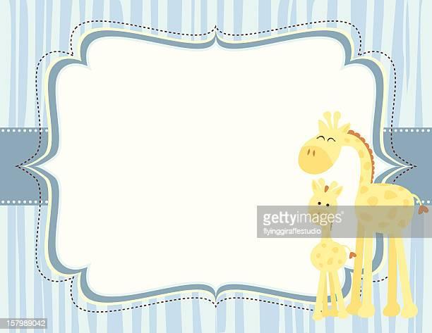 Cute Giraffe Baby Boy Card