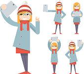 Cute Girl Geek Hipster Smartphone Photo Casual Selfie Character Icons Cartoon Flat Design Vector illustration