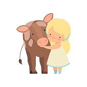 Cute Girl Hugging Calf, Kid Interacting with Animal in Contact Zoo Cartoon Vector Illustration on White Background.