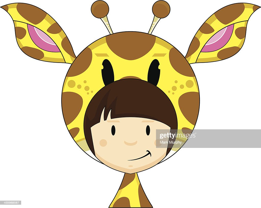 cute in giraffe hat vector art getty images