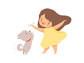 Cute Girl Playing with Puppy, Kid Interacting with Animal in Contact Zoo Cartoon Vector Illustration on White Background.