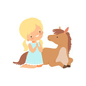 Cute Girl Sitting Next to Lying Foal, Kid Interacting with Animal in Contact Zoo Cartoon Vector Illustration on White Background.