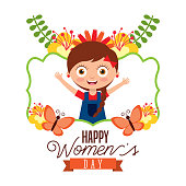 cute girl smiling frame decoration flowers and butterfly womens day card vector illustration