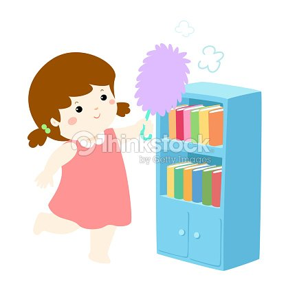 jolie fille essuyer la poussi re du vecteur d tag re clipart vectoriel thinkstock. Black Bedroom Furniture Sets. Home Design Ideas
