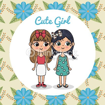Cute Girls Couple Characters With Floral Frame Vector Art | Thinkstock