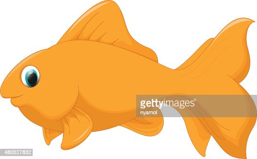 cute golden fish cartoon : Vector Art