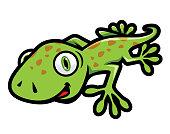 Cute Green Gecko Crawling Illustration in Cartoon Style