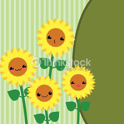 Cute Greeting Card With Cartoon Sunflowers Kawaii Japanese Style Vector Art