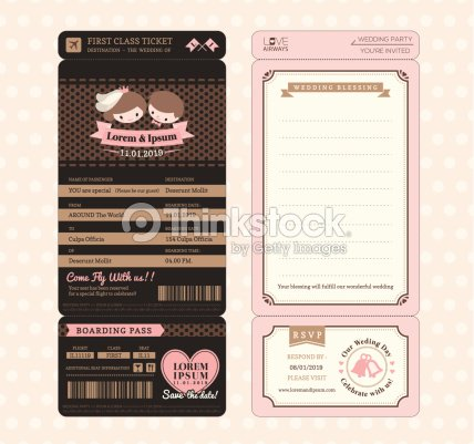 Cute groom and bride vintage boarding pass wedding invitation vector cute groom and bride vintage boarding pass wedding invitation vector art stopboris Gallery