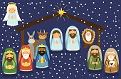 Cute hand drawn characters of Nativity scene can be used as Christmas school play banner