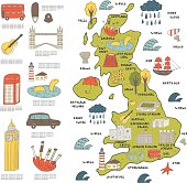 Cute hand drawn doodle map of England with sightseeing and objects including bus, tower bridge, big ben, ship, cloud, umbrella, kilt, loch ness monster, castle, palace, stadium, bagpipes, guitar, car.