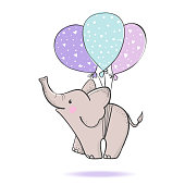 Cute hand drawn elephant flying on balloons isolated on white background. Design element for baby shower greeting cards, t-shirt print and etc. Vector illustration.