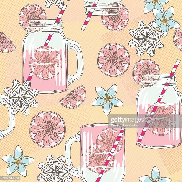 Süße Hand Drawn Mason jar Limonade und Sommer Blumen