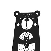 Cute hand drawn nursery poster with bear in scandinavian style. Monochrome vector illustration.
