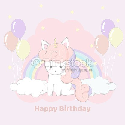 Cute Hand Drawn Unicorn Party Happy Birthday Card Stock Vector