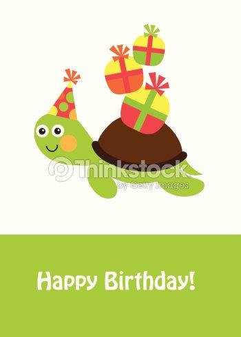 Cute Happy Birthday Card With Fun Turtle Vector Art Thinkstock