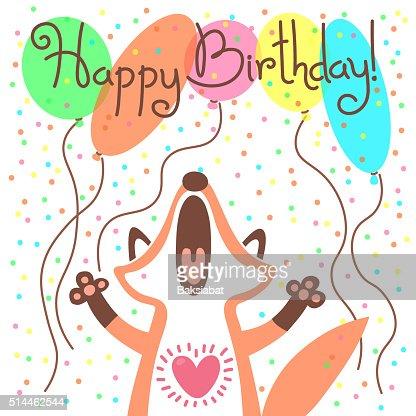 Fofinho Feliz Aniversário Cartão Com Engraçado Raposa Arte Vetorial