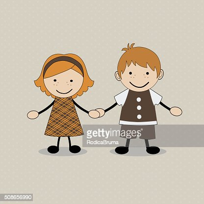 Cute happy cartoon kids : Vector Art