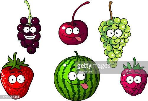 H 252 Bsch Gl 252 Cklich Bunte Comic Obst Und Beeren Vektorgrafik Thinkstock