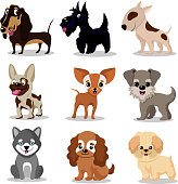 Cute happy dogs. Cartoon funny puppies vector characters collection. Set of breed dogs, illustration of friendly animal