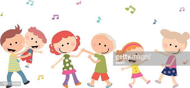 Cute Happy Multi-generation Family Dancing