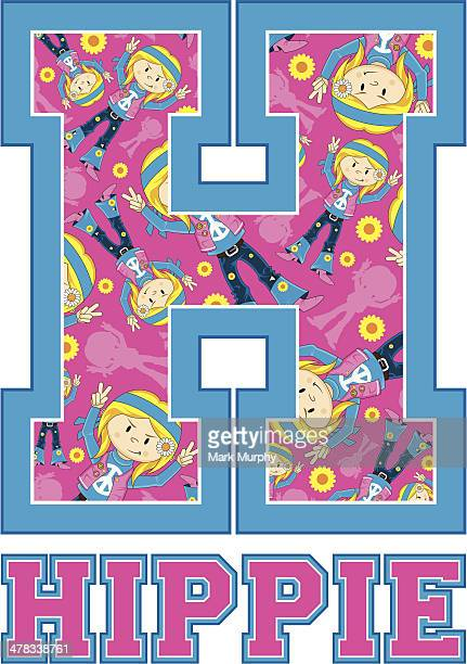 Cute Hippie Patterned Learning Letter H