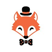 Cute hipster fox with hat and bow tie. Simple cartoon vector illustration.