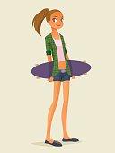 cute hipster girl on longboard