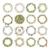 Cute hipster wreaths. Simple drawings of plants.